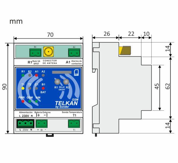 Medidas del control telkan 1 GSM