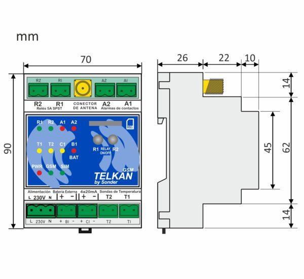 Medidas del control telkan 2 GSM